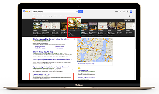 Google search result on computer screen